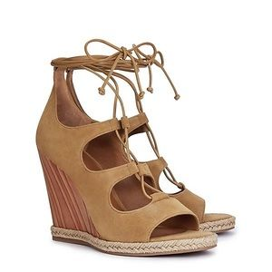 NWOB TORY BURCH Raya Lace-up Suede Wedge Sandals